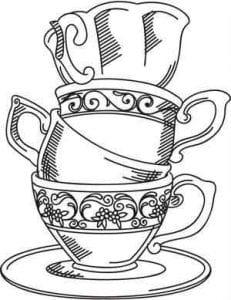 бесплатно раскраска чайная чашка
