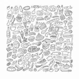 бесплатно скачать еда и продукты раскраски на тему