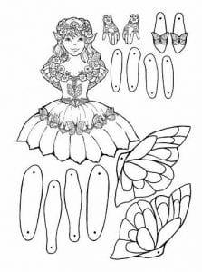 бумажная кукла с набором одежды