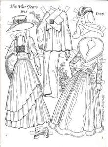 бумажные куклы с одеждой распечатать черно белые