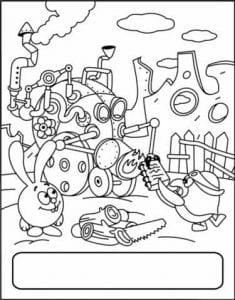 детские раскраски смешарики распечатать