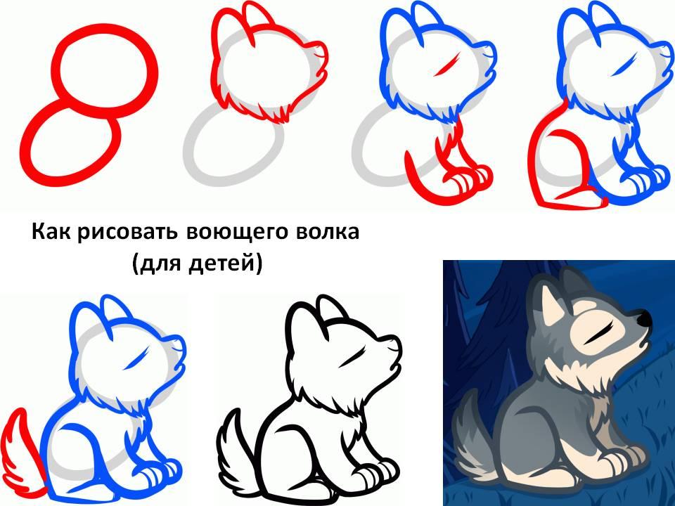 Как рисовать воющего волка для детей