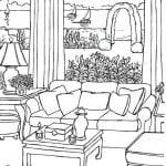 комнаты раскраска интерьер