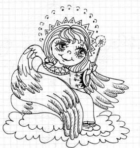 красивые раскраски ангелов с крыльями бесплатно