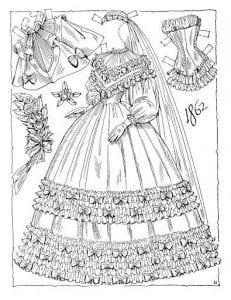 кукла с набором одежды бумажная