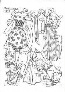 куклы с одеждой распечатать черно белые бумажные