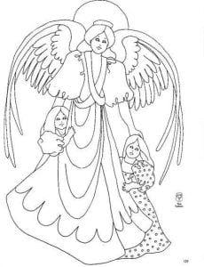 раскраски ангелов с крыльями красивые