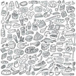 раскраски для взрослых еда