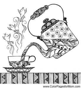 распечатать бесплатно чашка для чая картинка раскраска