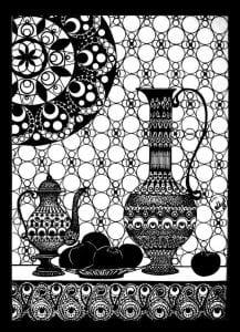 распечатать бесплатно раскраска чайник и чашка