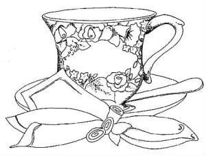распечатать чашка раскраска чайная