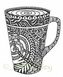 распечатать чашка раскраска
