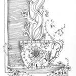 распечатать картинка раскраска чашка для чая