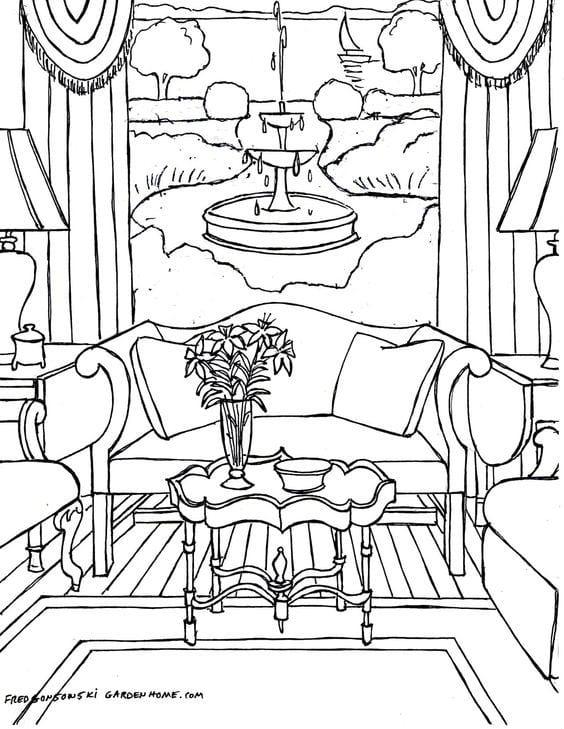 Картинка интерьера для раскрашивания