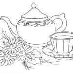 распечатать скачать чайная чашка раскраска