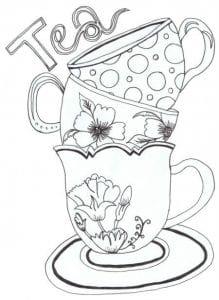 распечатать скачать чашка чая раскраска