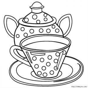 распечатать скачать картинка раскраска чашка для чая