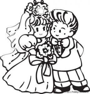 скачать бесплатно жених и невеста свадьба раскраска