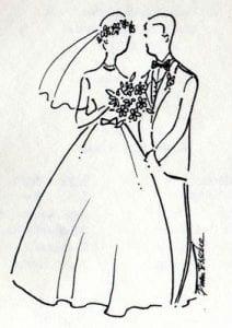 скачать раскраска жених и невеста свадьба