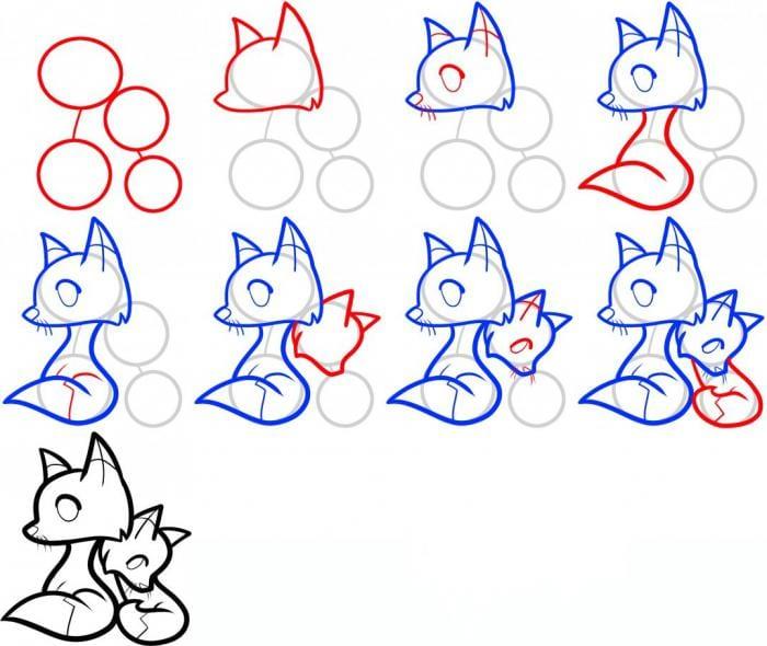как нарисовать лисят