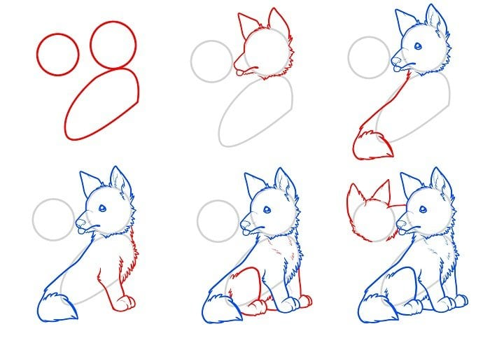 как нарисовать лисенка