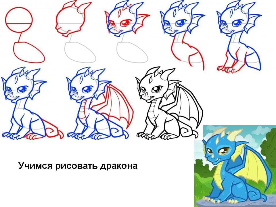 -нарисовать-дракона-малыша Как нарисовать дракона поэтапно