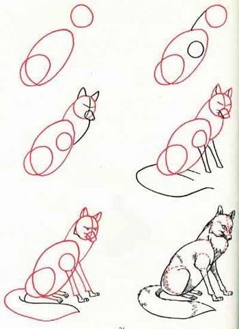 как нарисовать лисицу