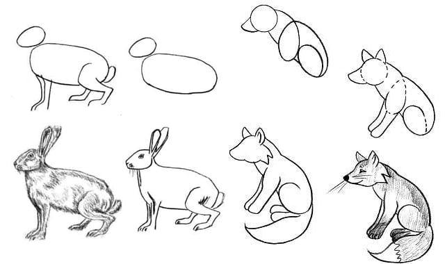 как нарисовать лису и кролика