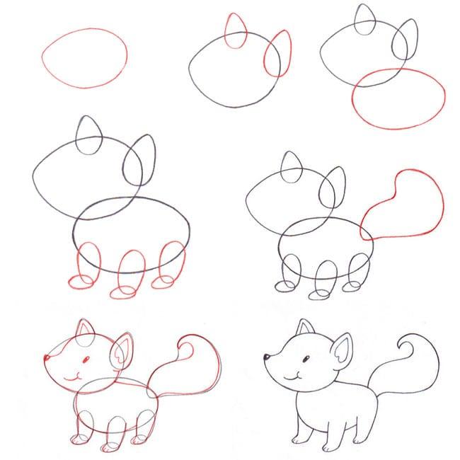 как нарисовать лису ребенку