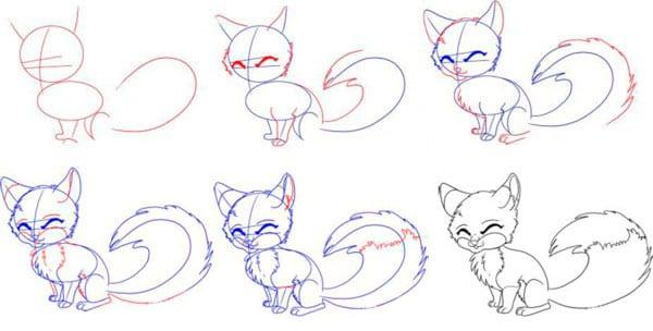 как нарисовать милую лису