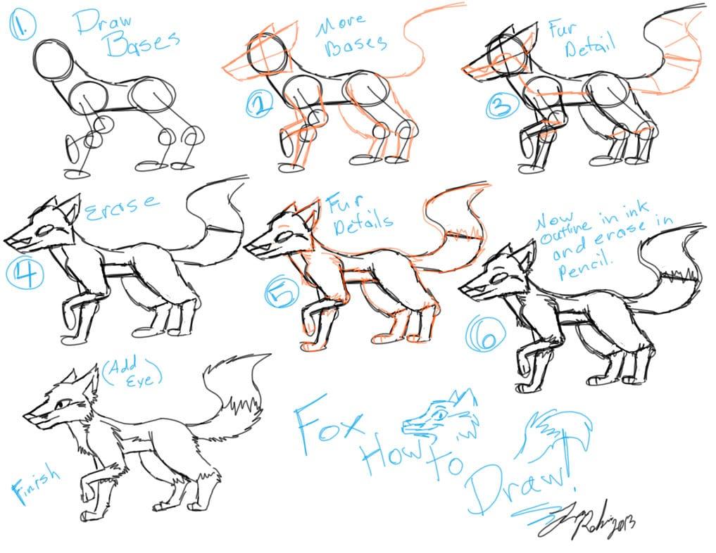 как нарисовать мультяшную лису
