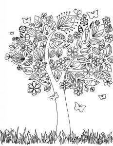 раскраски листья и деревья (50)