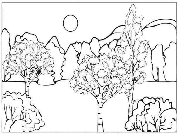 Шаблон раскраски природа
