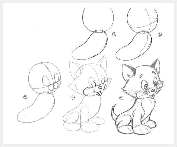 как нарисовать красивого котенка поэтапно