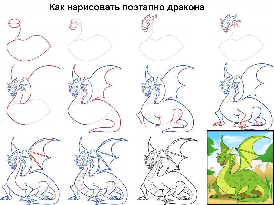 10 Как нарисовать дракона поэтапно
