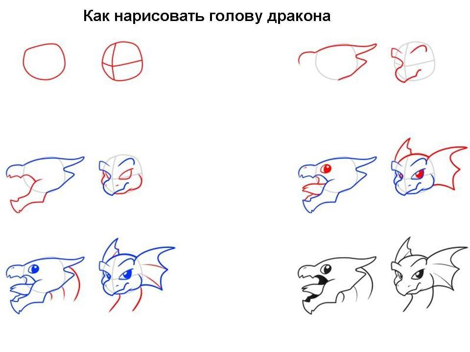 12 Как нарисовать дракона поэтапно