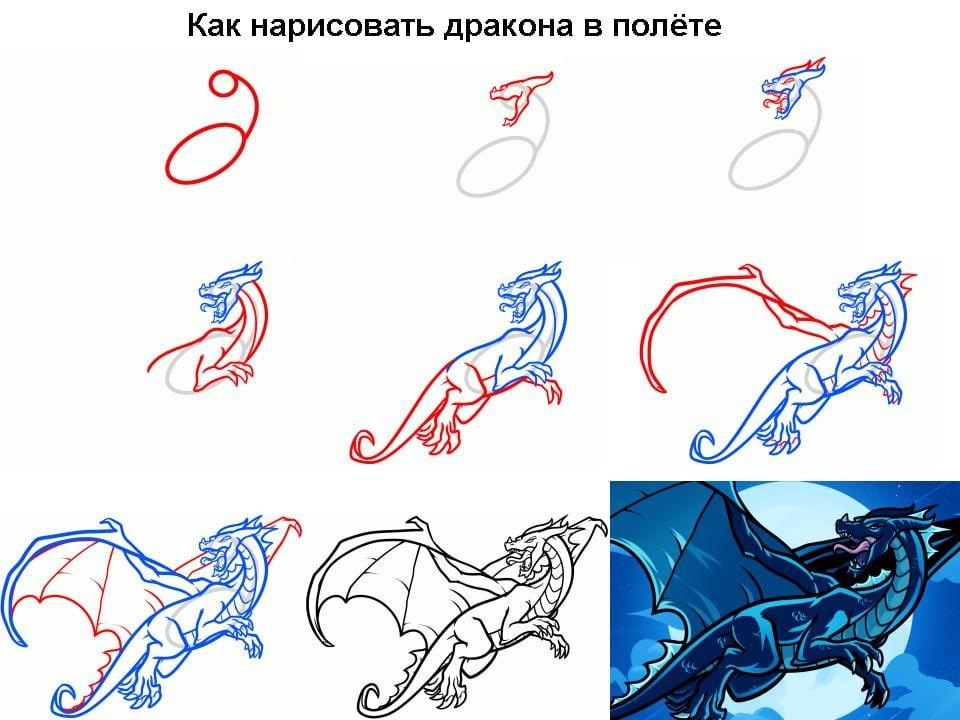 как нарисовать дракона в полете