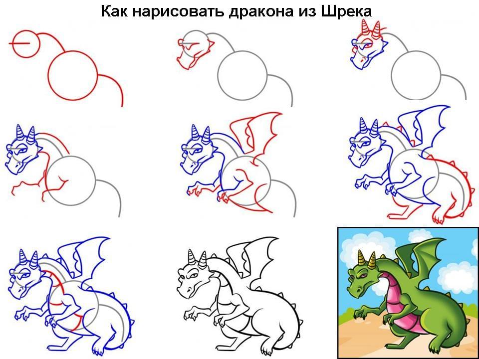 как нарисовать дракона из Шрека
