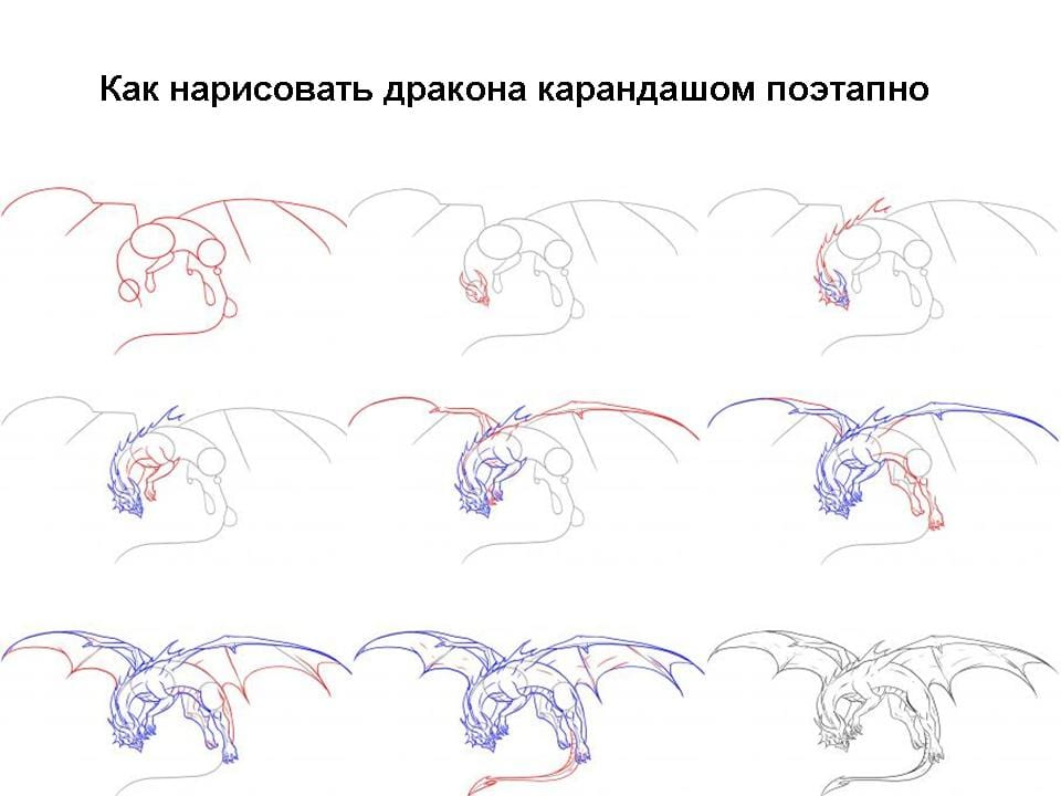 15 Как нарисовать дракона поэтапно
