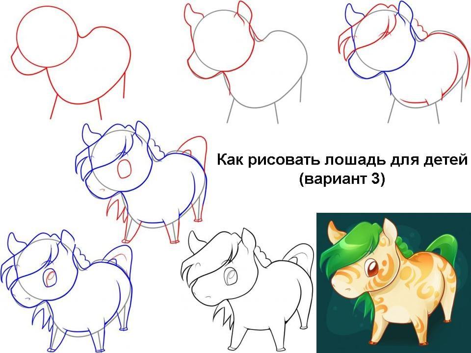как рисовать лошадь для детей