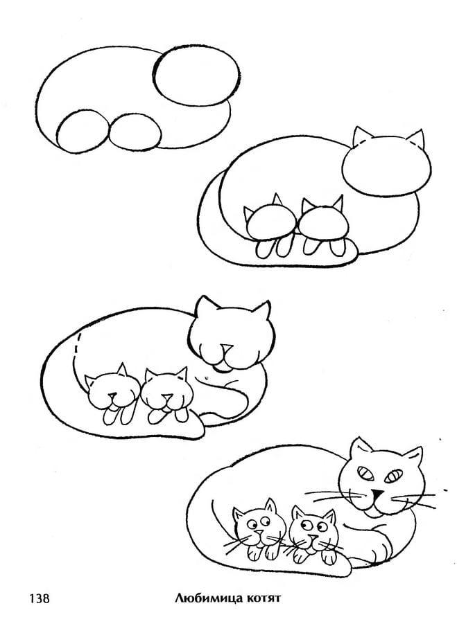как нарисовать кошку с котятами для детей