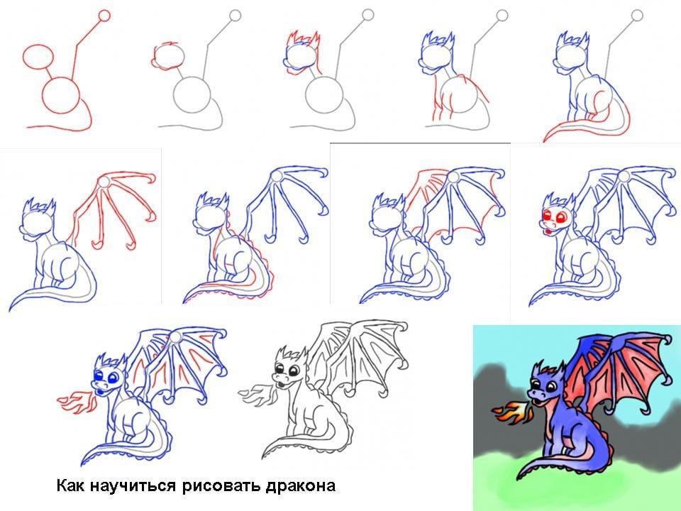 8 Как нарисовать дракона поэтапно