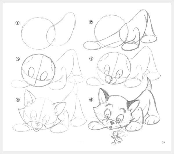 как нарисовать маленького котенка
