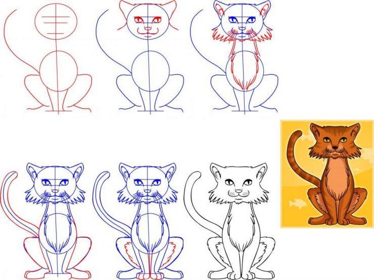 Рисование кошки по поэтапно