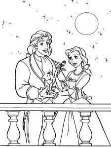 Раскраска Бэлль и принц