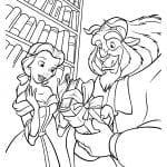 Раскраска Бэлль и чудовище в библиотеке
