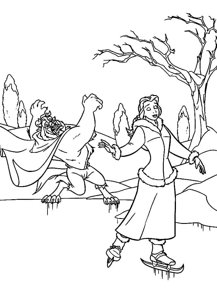 Раскраска Бэлль и чудовище на коньках