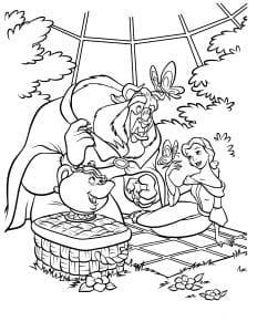 Раскраска Бэлль и чудовище на пикнике