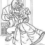 Раскраска Бэлль и чудовище танец