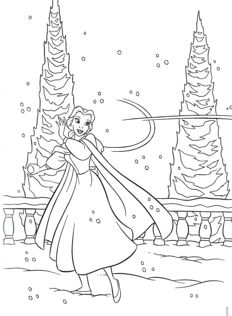 Раскраска Бэлль кидает снежок